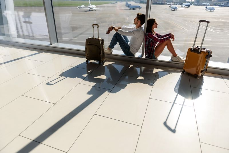 Couple in an airport
