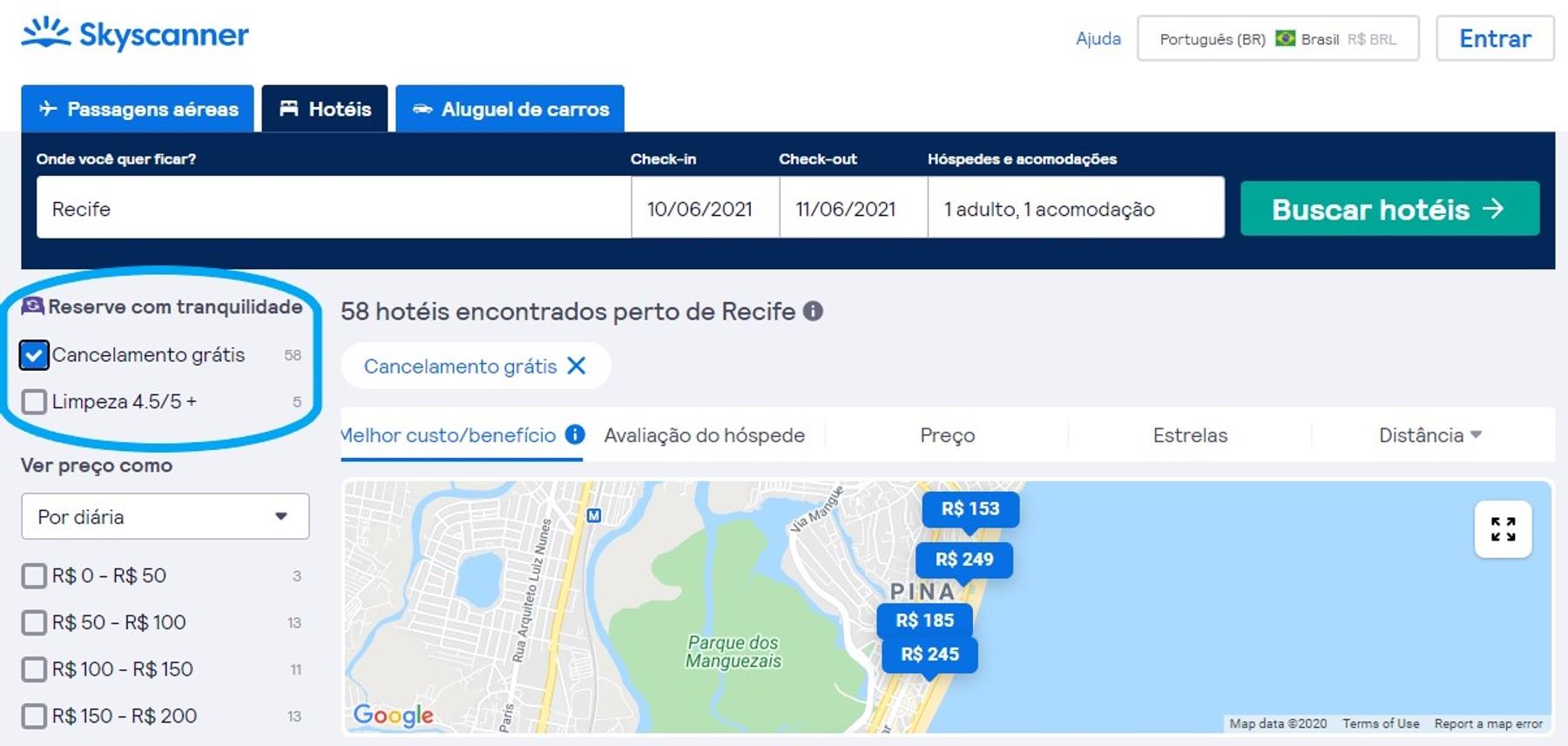 Página inicial de buscas de hotel com destaque para a possibilidade de reservas flexíveis.