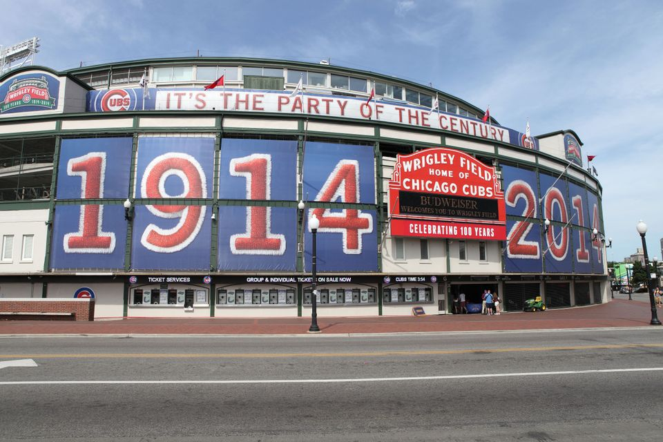 the outside of Wrigley Field in Chicago