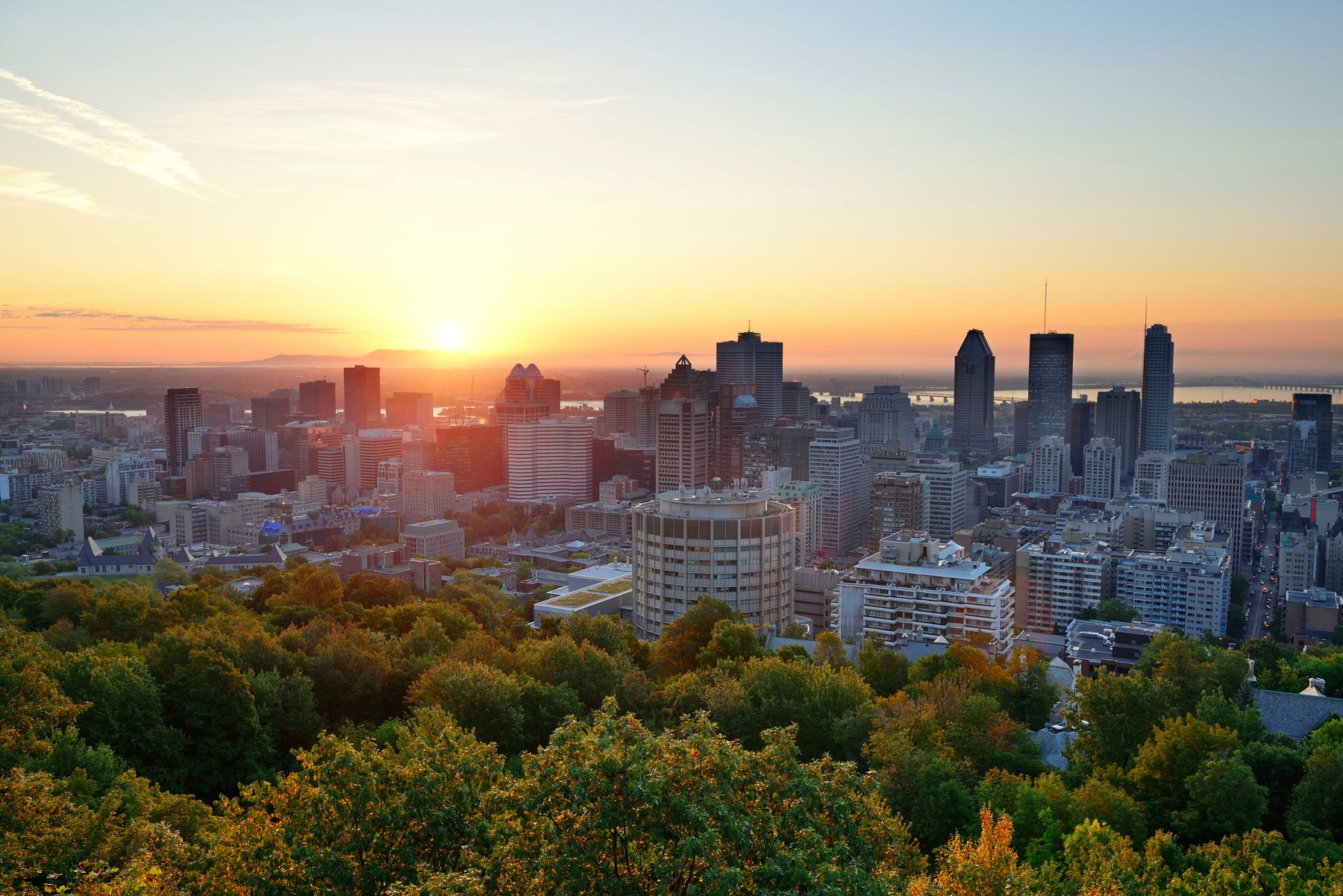 sunrise at the viewpoint in Mount Royal a great day hike in Montreal