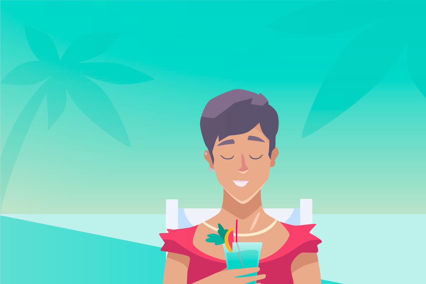 Een persoon zittend in een stoel met de ogen dicht en glimlachen, met een tropisch drankje op vakantie.