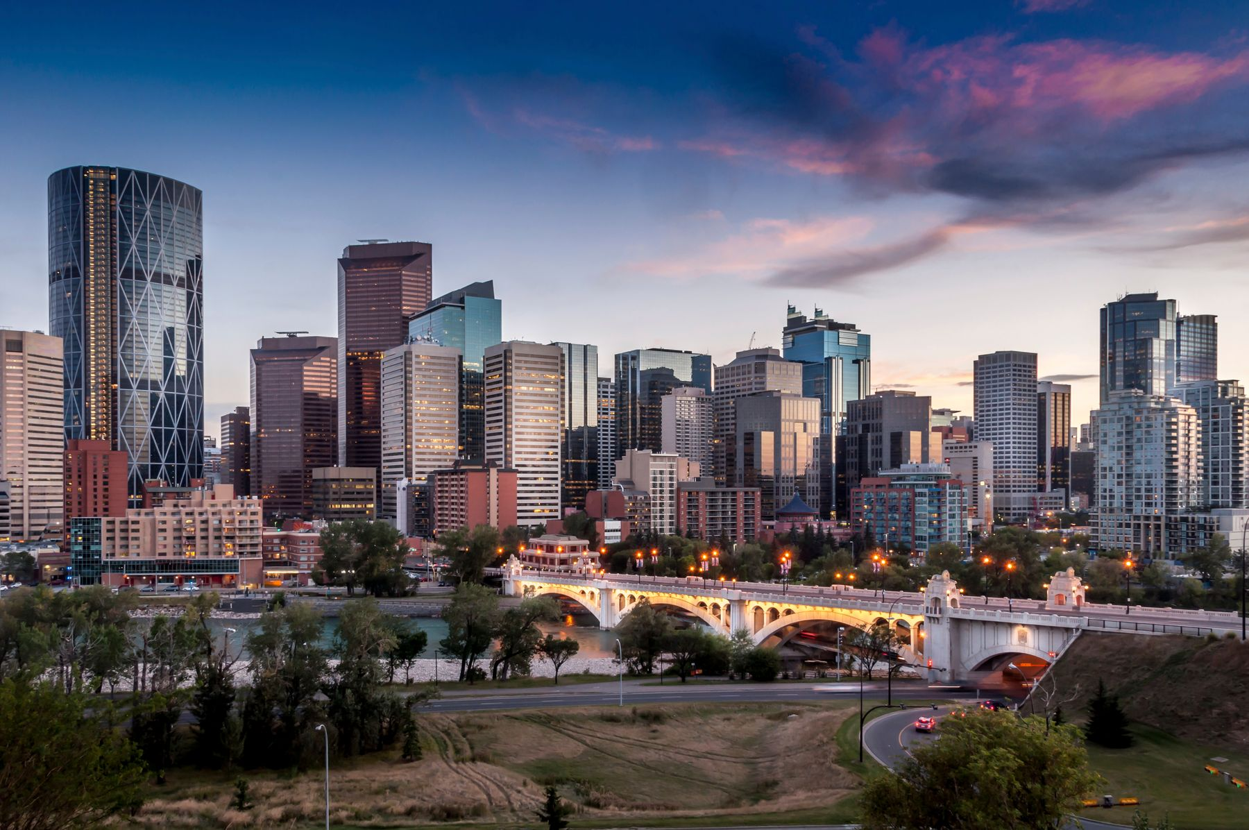downtown Calgary at sunset
