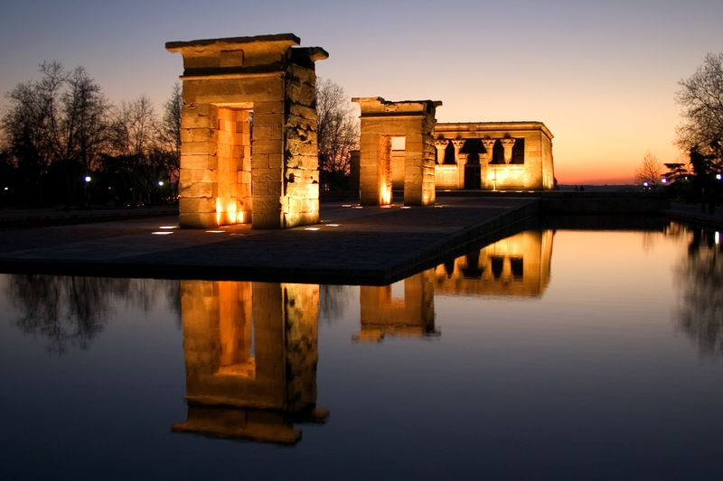 Sunset at Debod Temple in Spain