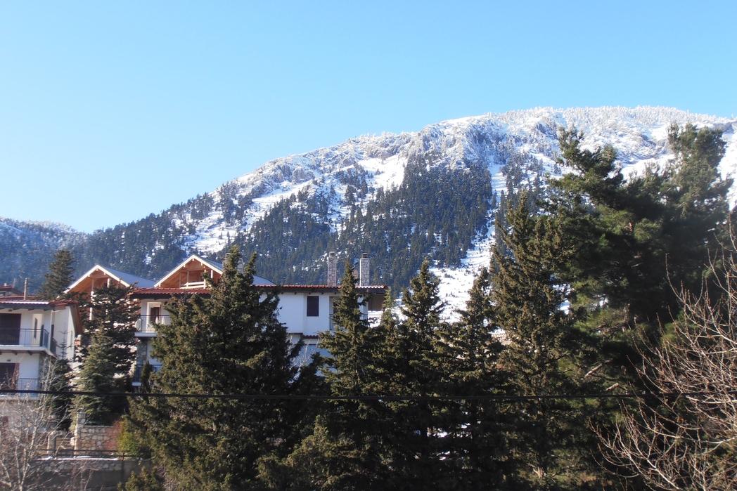 Σαλέ της Αράχωβας κάτω από τον χιονισμένο Παρνασσό.