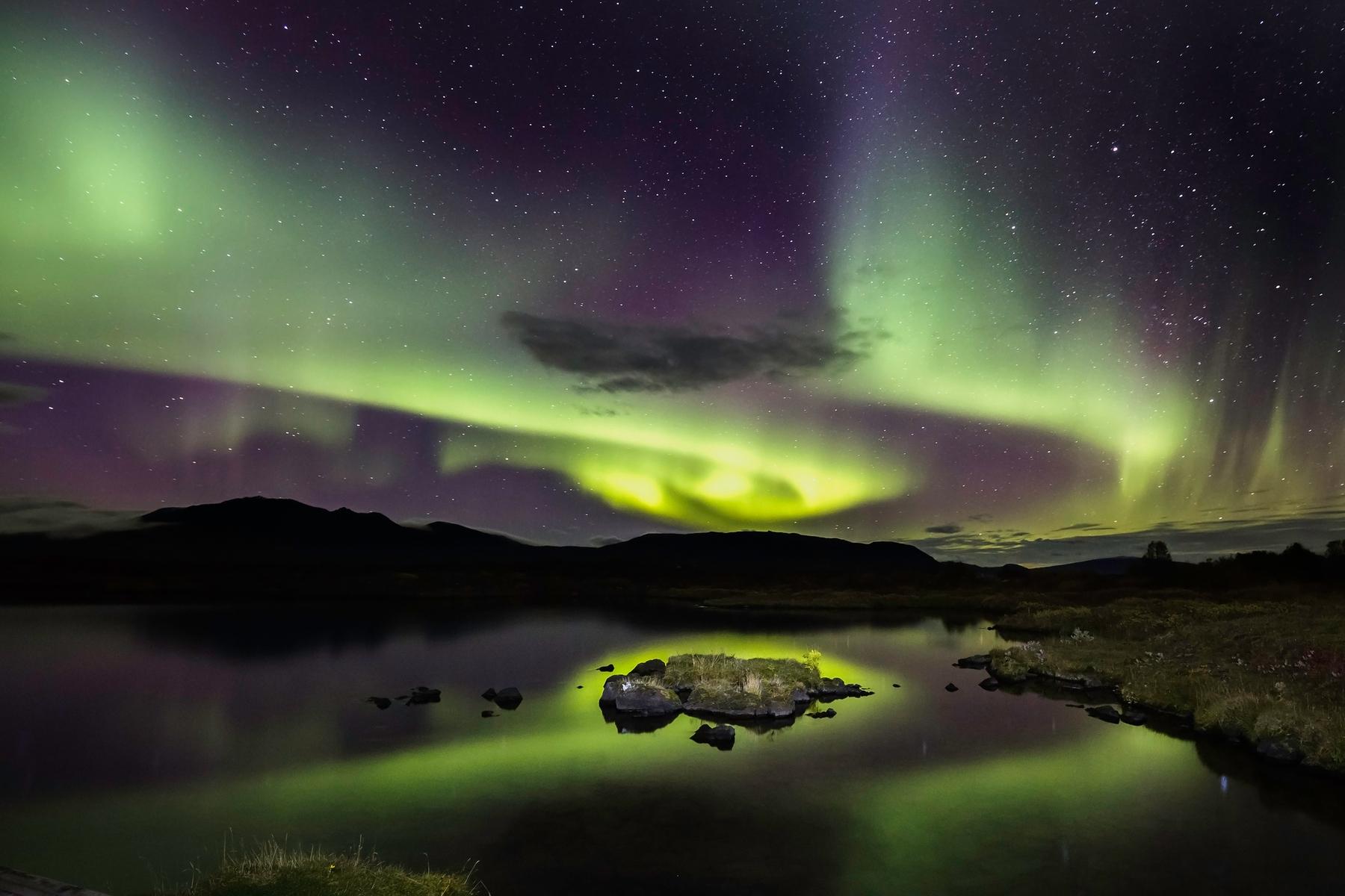 Aurores Boréales en thingvellir Islande