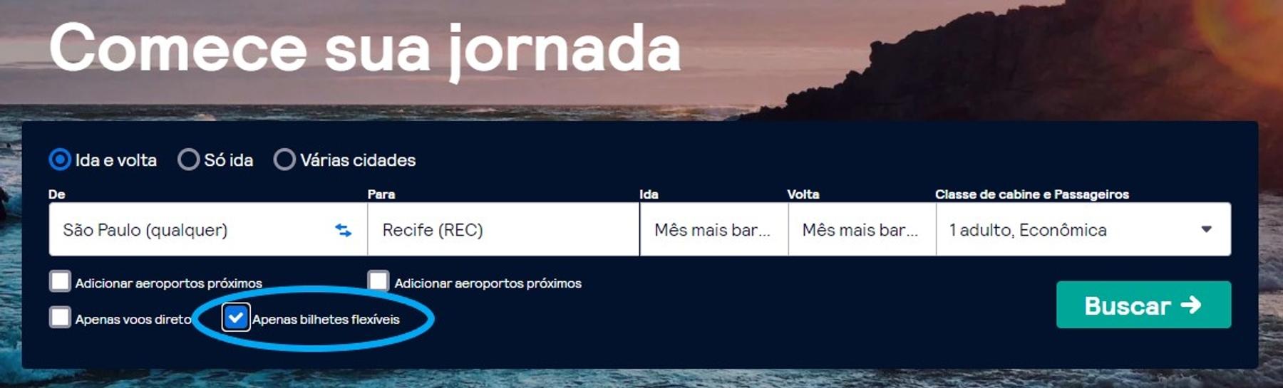 Página inicial de buscas de voos com destaque para a possibilidade de reservas flexíveis.
