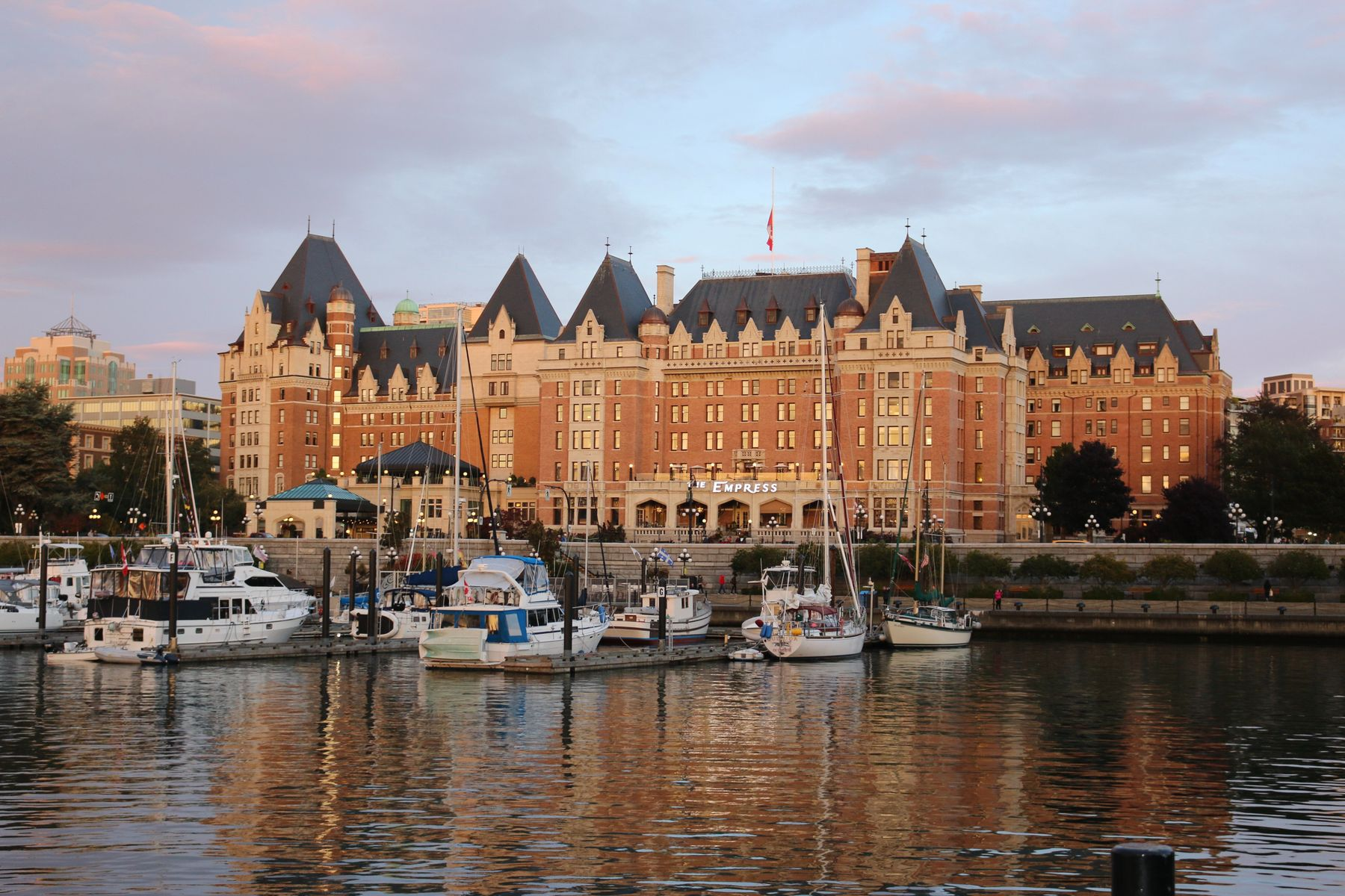 The harbour in Victoria BC, one of the warmest places to visit in Canada in winter