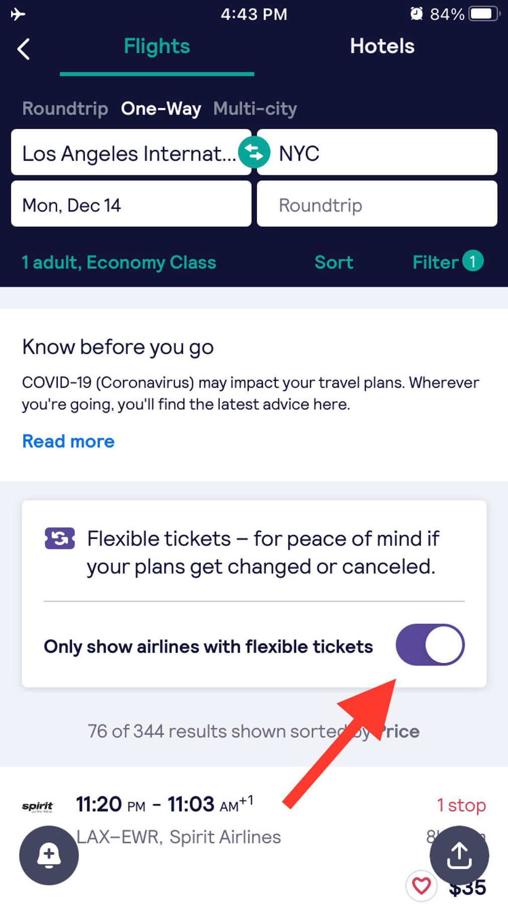 Use our new flexible ticket filter when you do a flight search--in the Skyscanner app or on desktop.