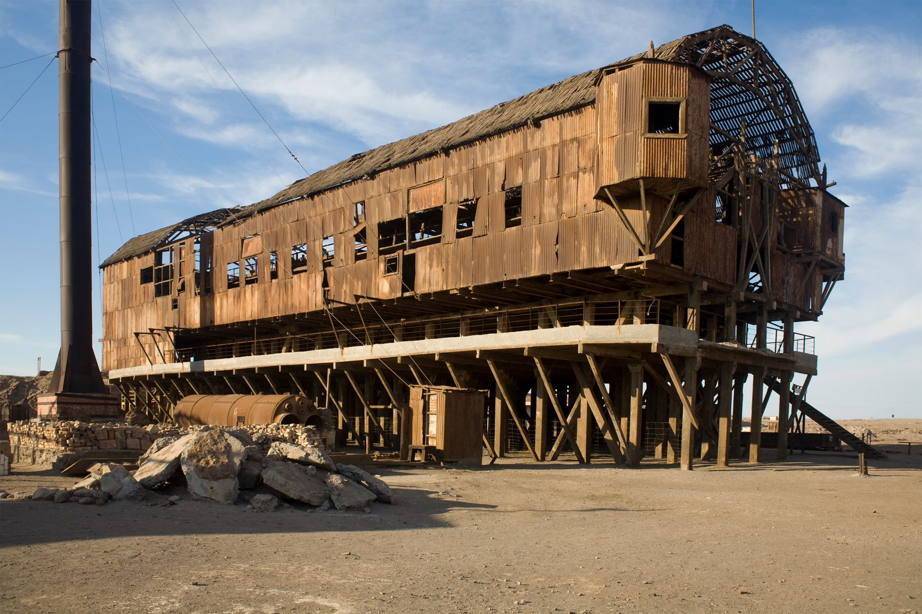 A rusting corrugated iron structure is one of the few signs that Humberstone once existed.