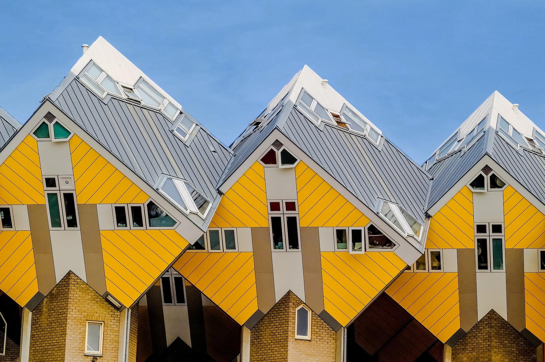 Желтые кубические дома в Роттердаме.