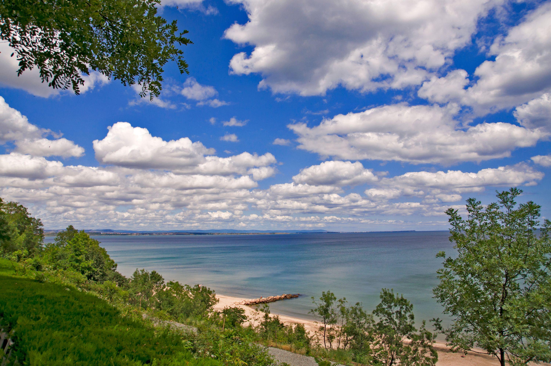 Lush nature surrounds the beach in Burgas, Bulgaria