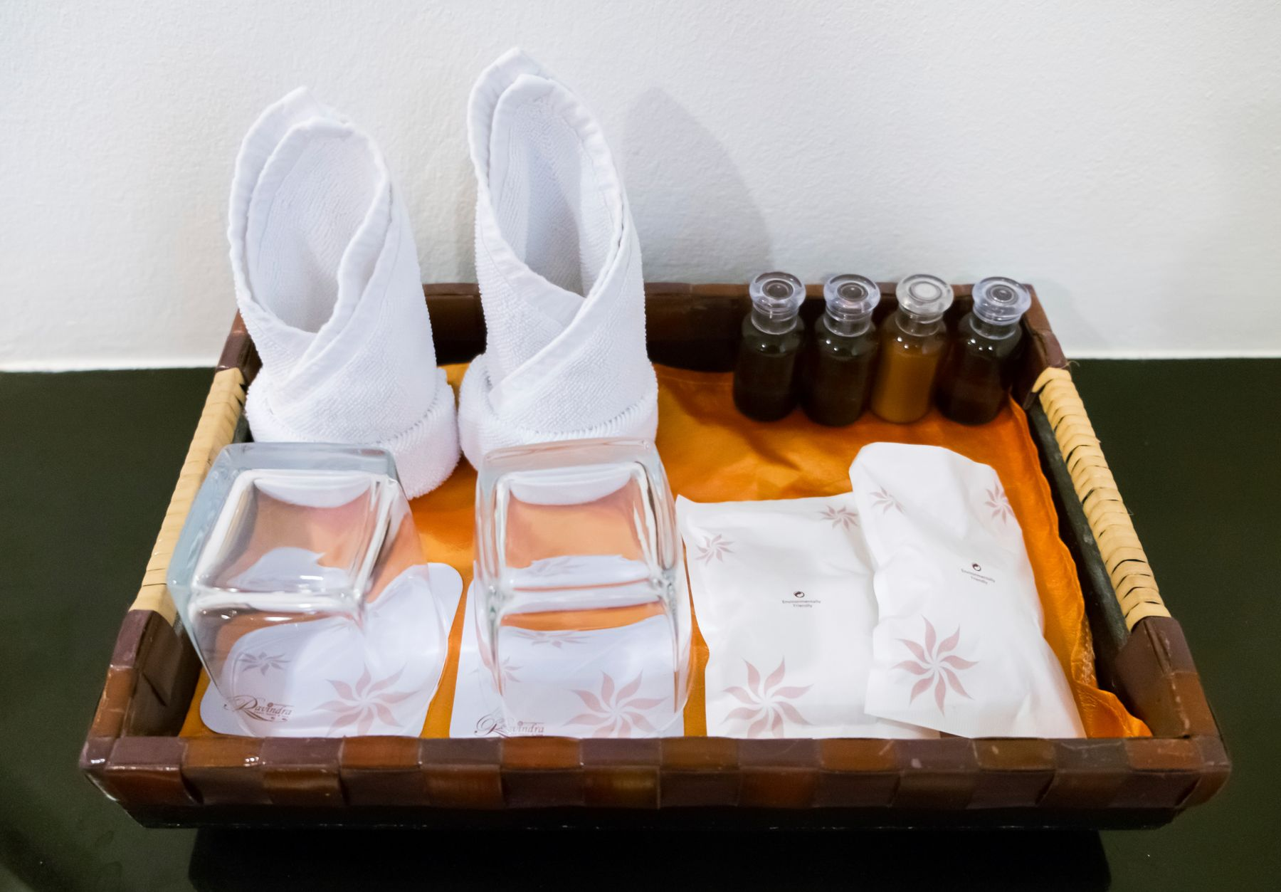 toiletries in a tray