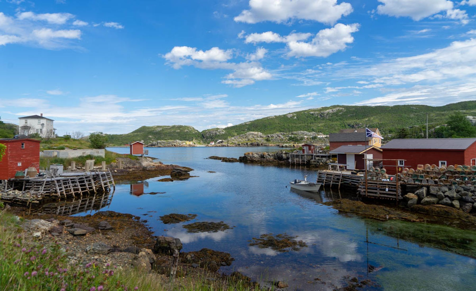 tiny houses by the fishing docks in Eastport, central Newfoundland