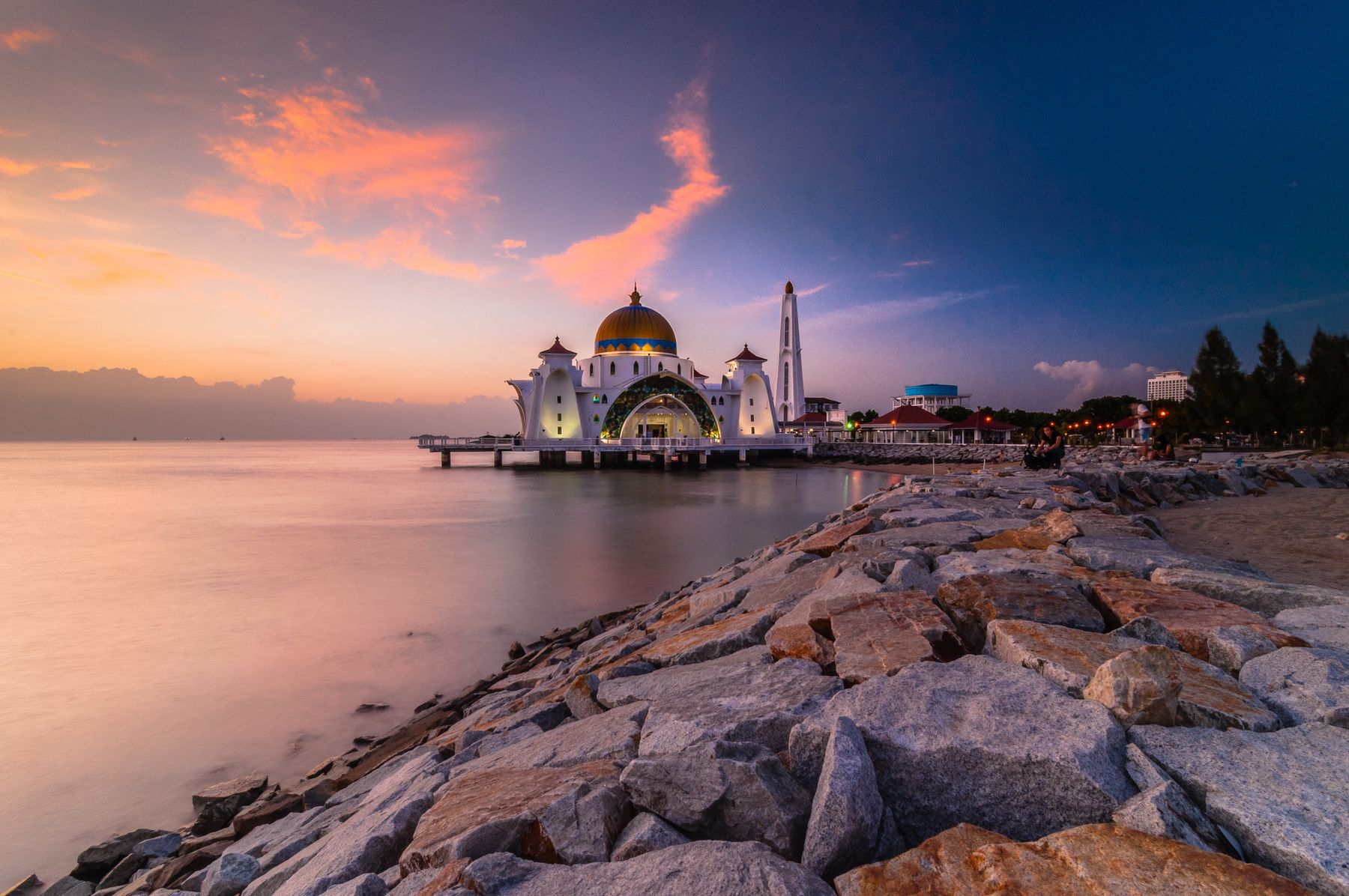 A view of the Malaysian coast at sunset