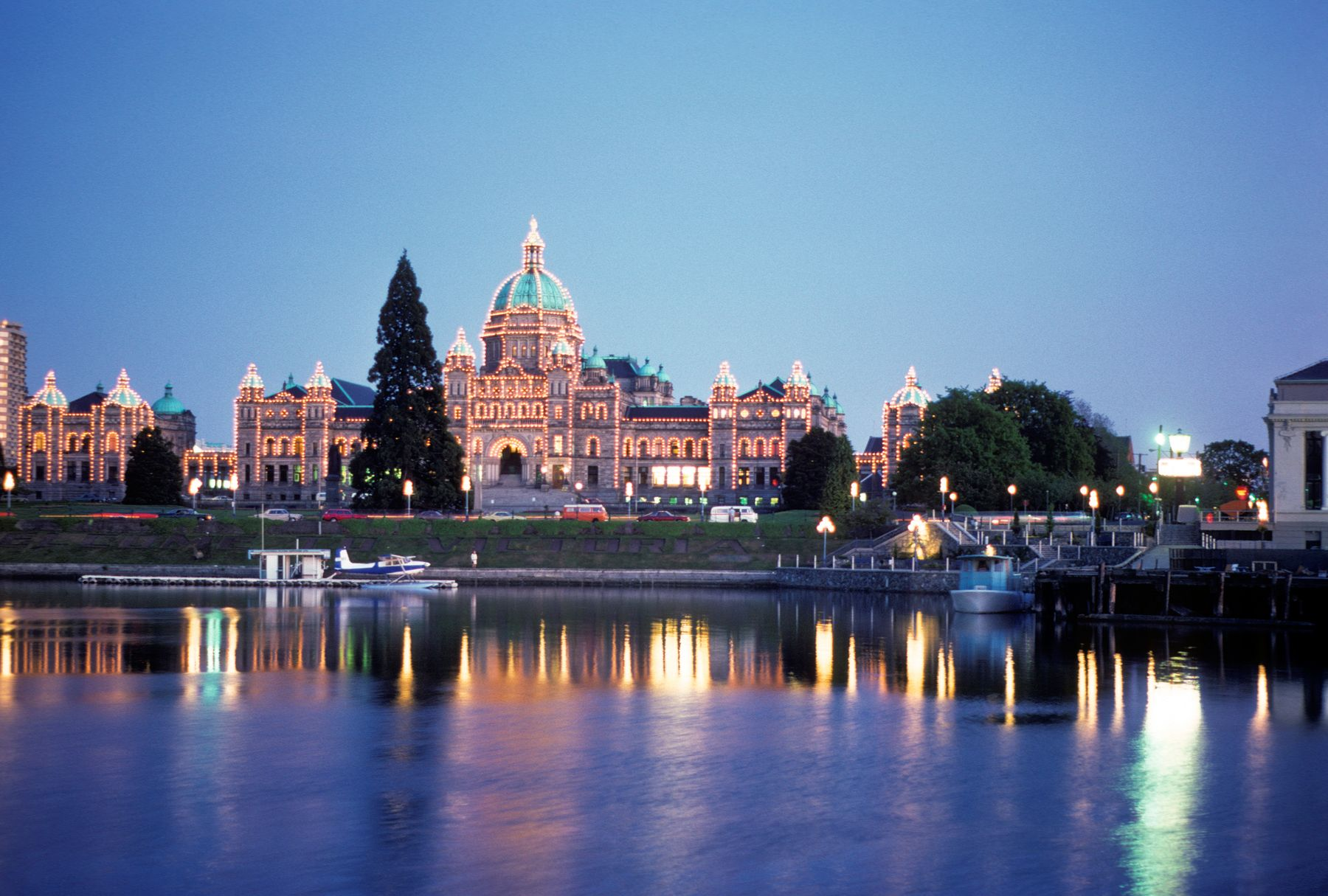 Victoria BC Parliament building with lights in the evening