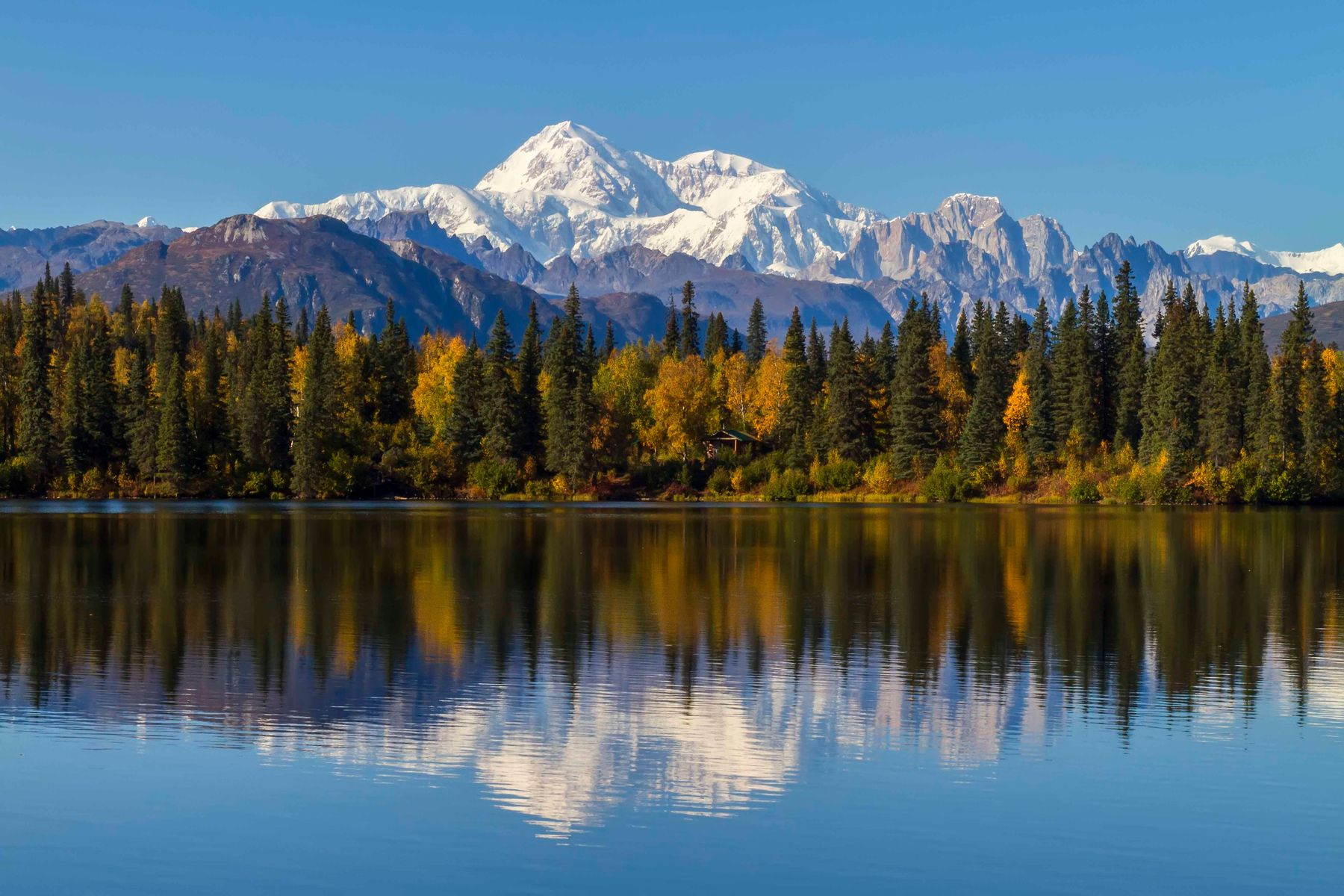 reflection of mountain in water