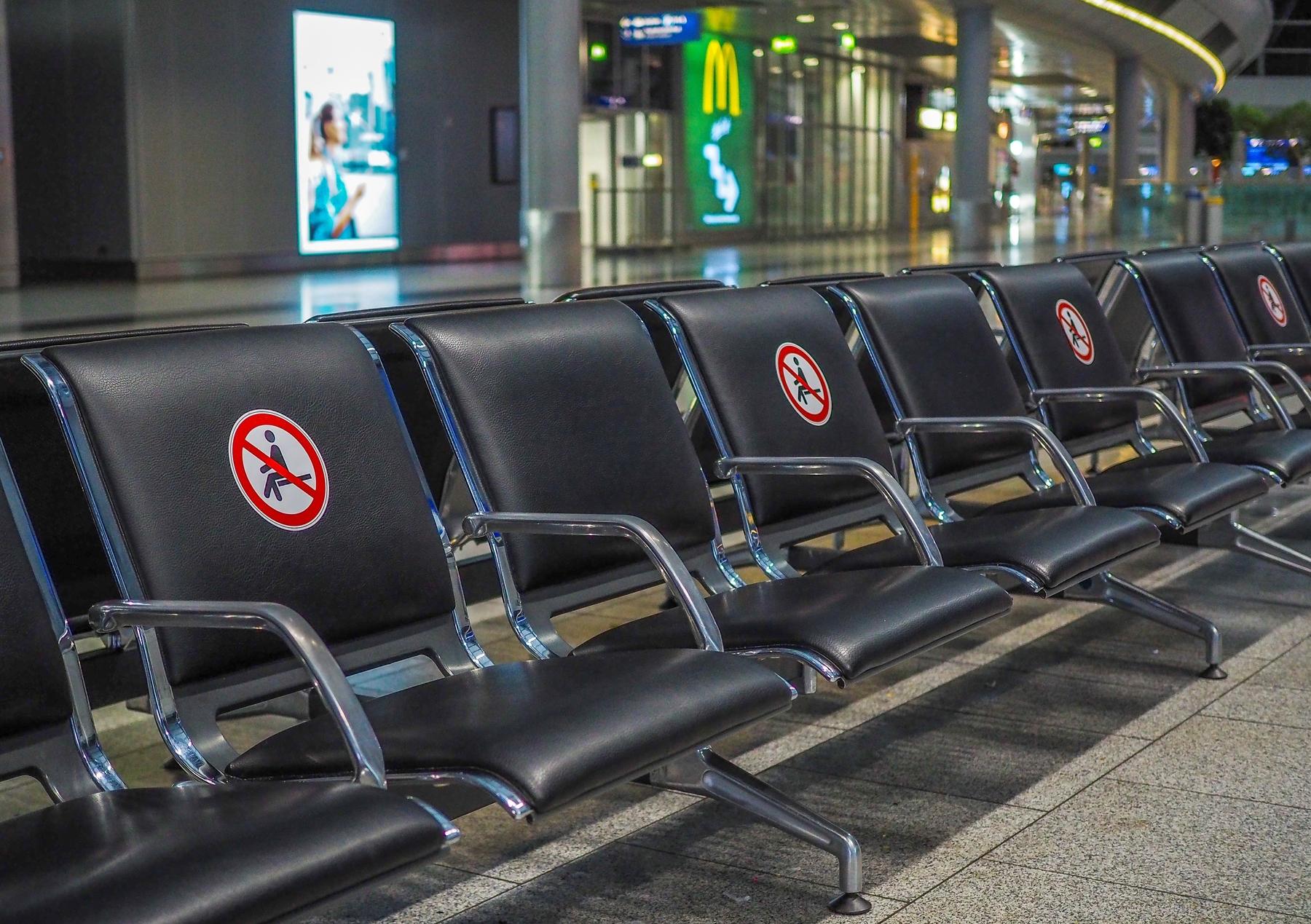 seating at the airport during coronavirus