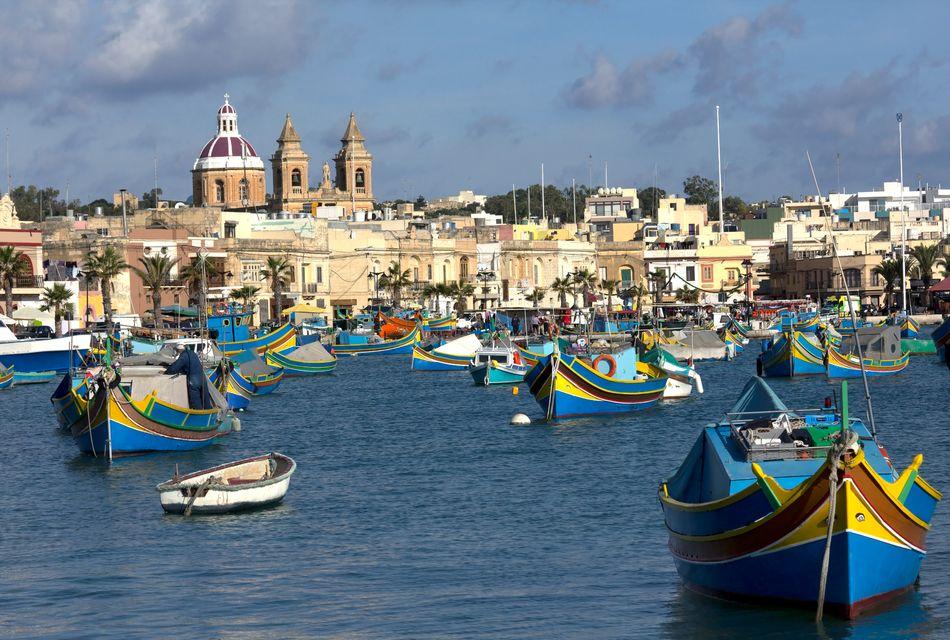 The traditional fishing village of Marsaxlokk in Malta