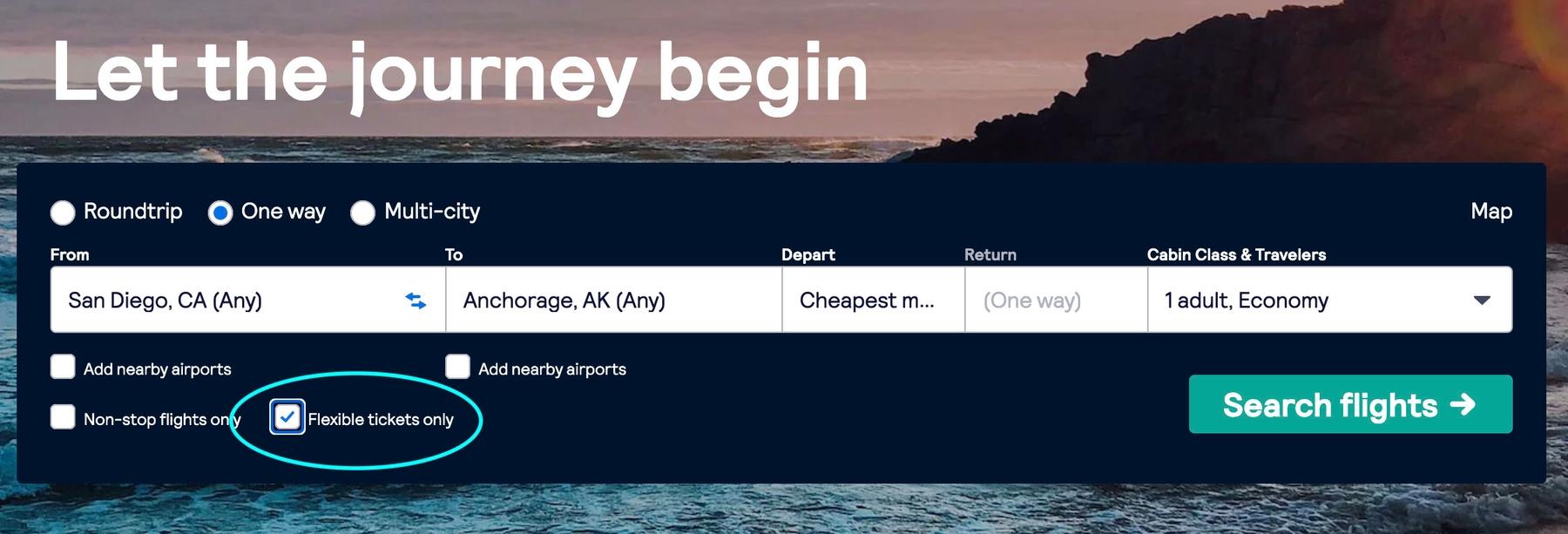 Screenshot for flexible flight search