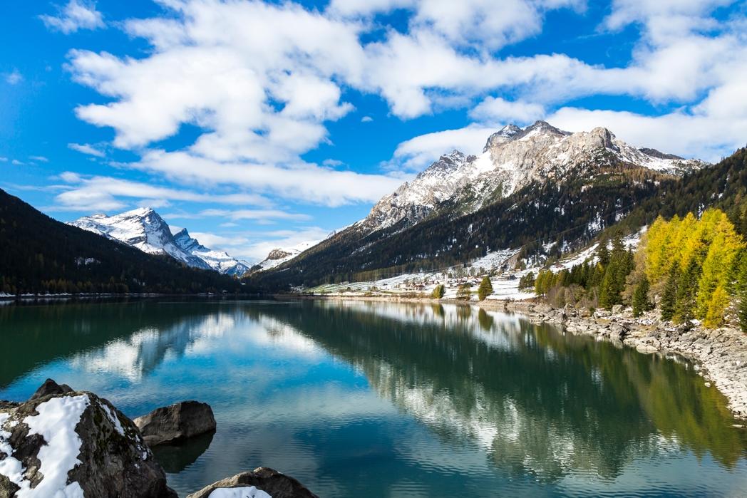 mountain range behind a lake