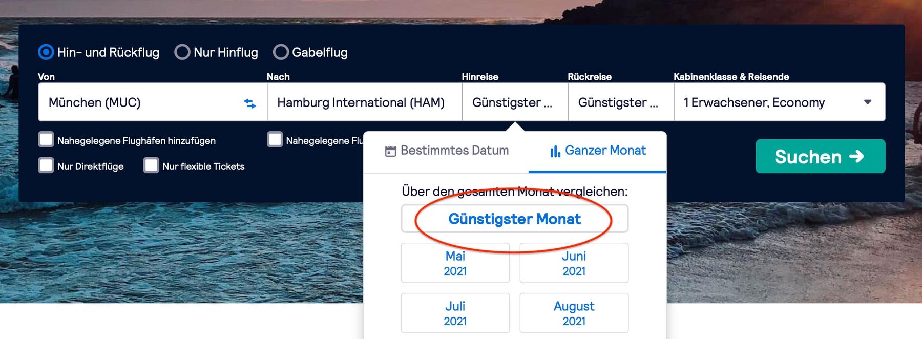 So findet ihr die günstigsten Flugangebote: Die günstigster-Monat Suchfunktion von Skyscanner