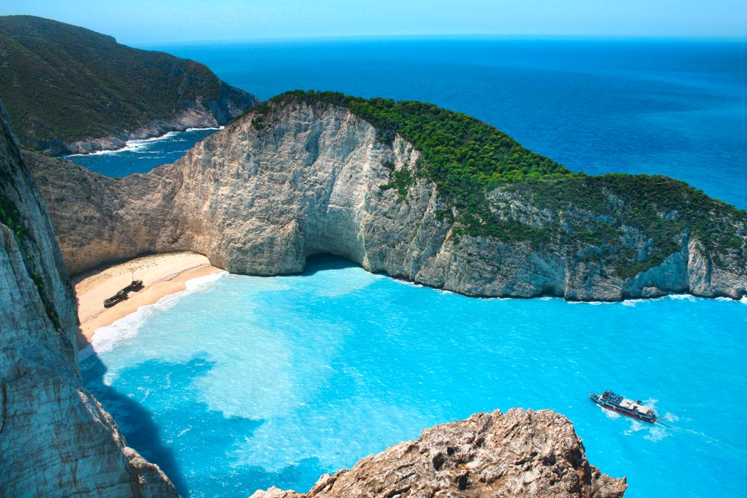 View of the famous Navagio beach in Zakynthos, Greece