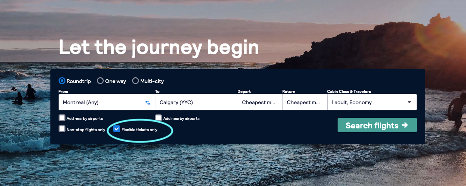 flight search page on skyscanner, tool for booking flexible tickets only for more flexible travel options