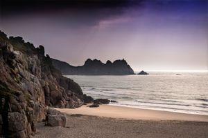 Stunning sunset in Porthcurno Beach, Cornwall