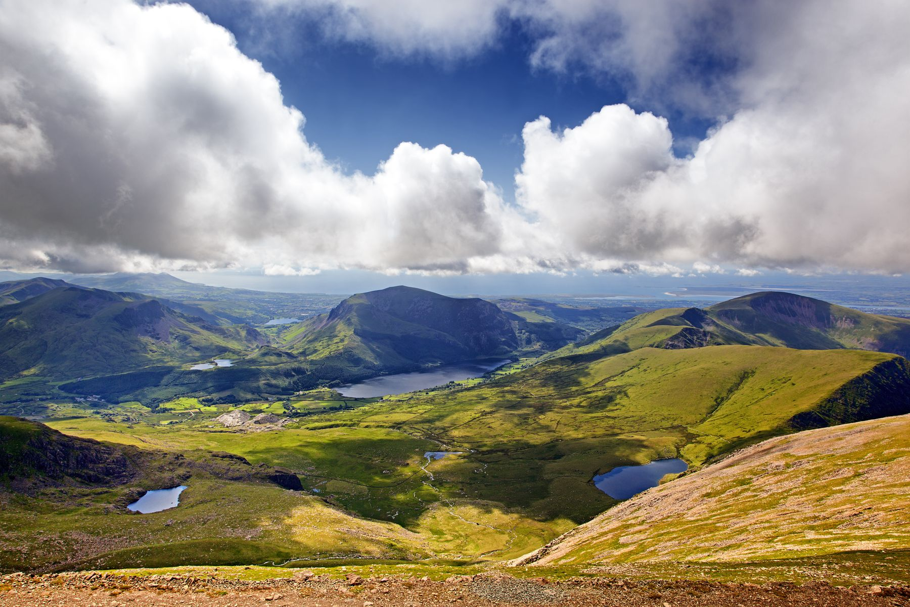 Looking down on the green mountains of Snowdonia, Wales