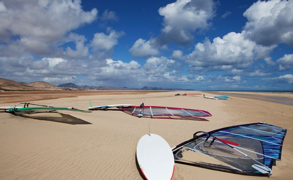 Windsurfing boards on a beach