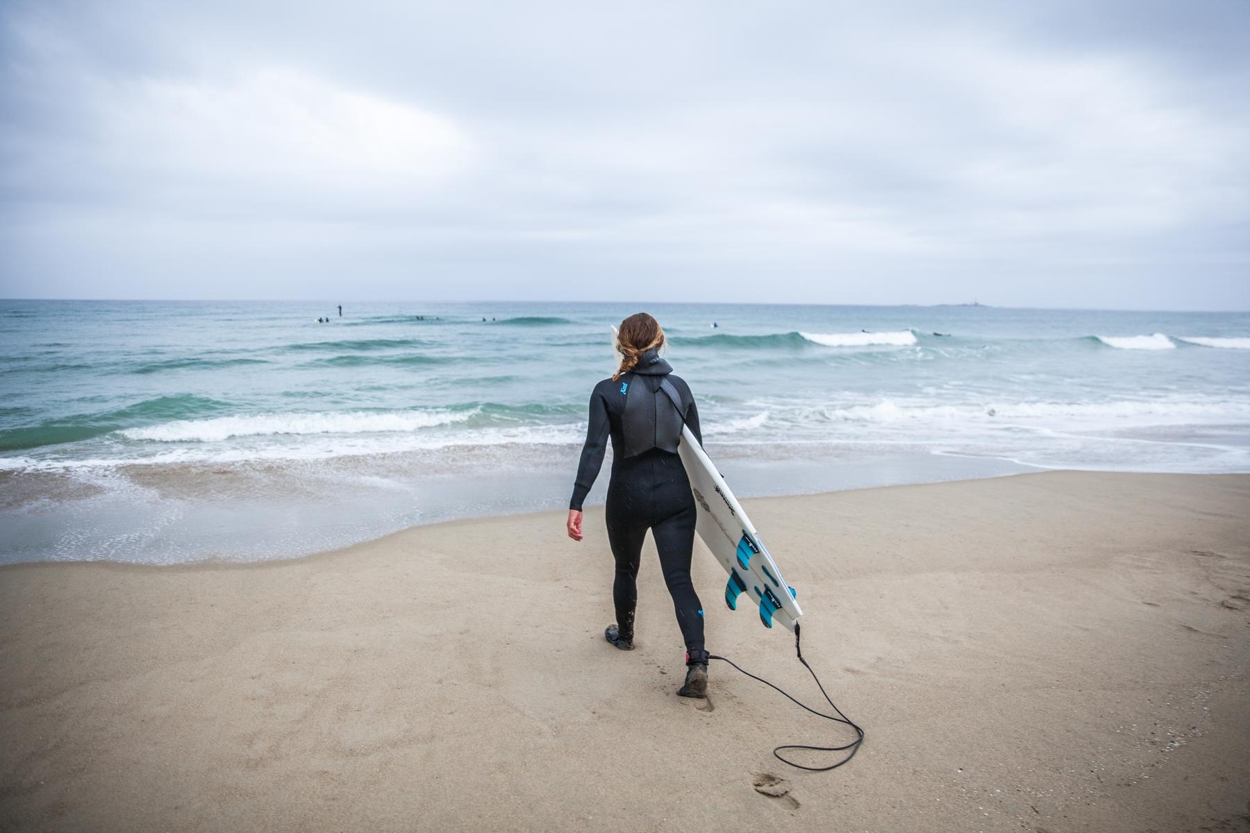Belgische kust surfer