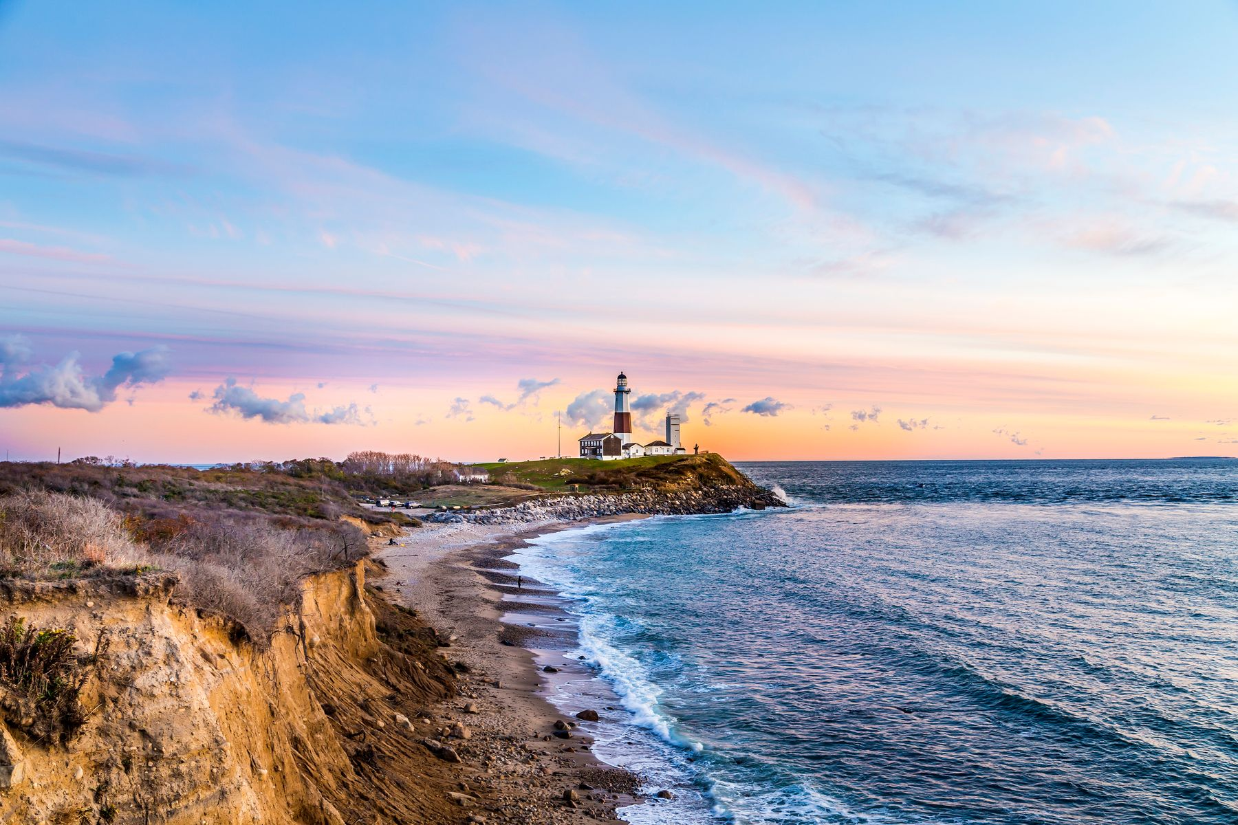 Montauk Lighthouse on the cliff at sunset, most eastern point in New York
