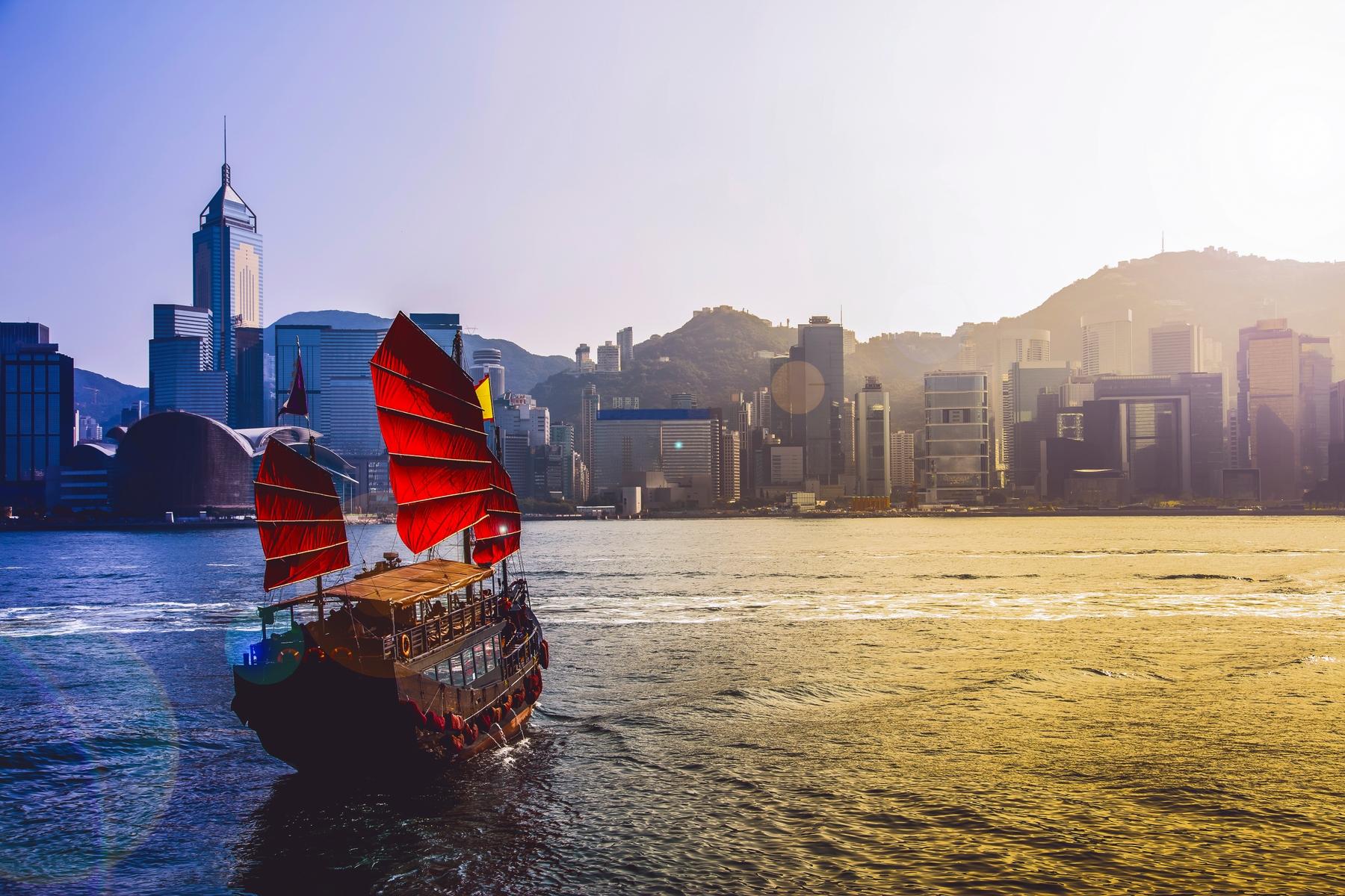 Hong Kong red sail sailboat