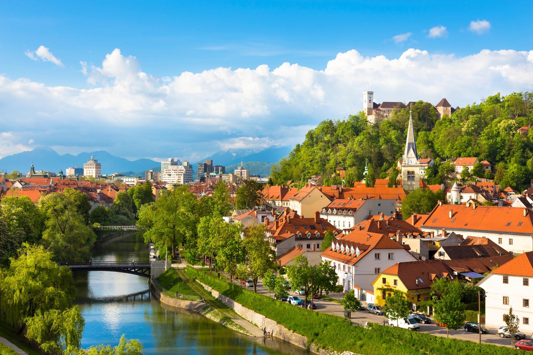 Blue skies and greenery in Ljubljana, Slovenia.
