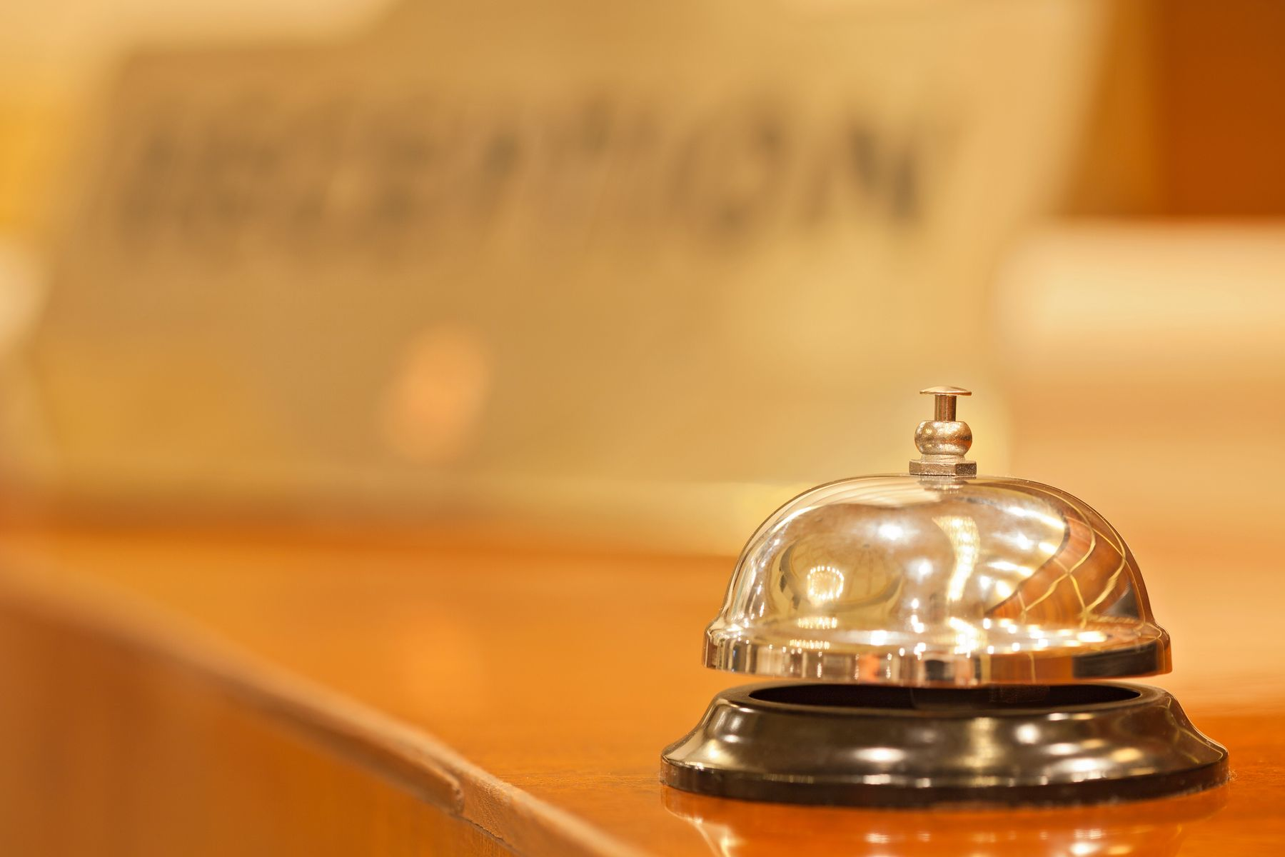 A hotel reception bell