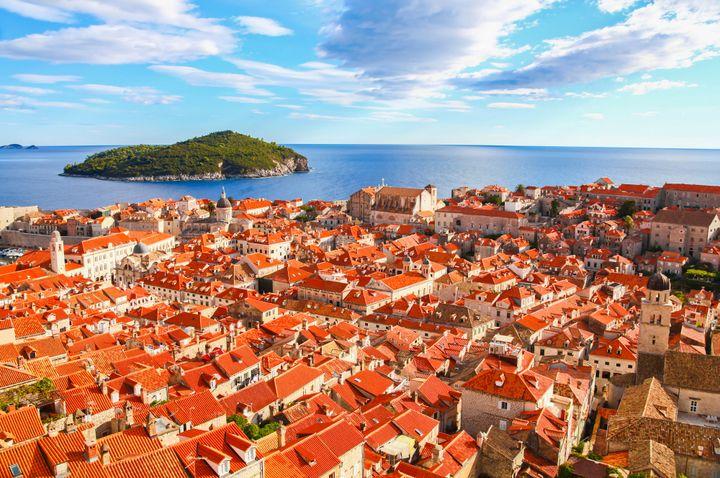 Dubrovnik, Croatia's orange-tile roofed cityscape.