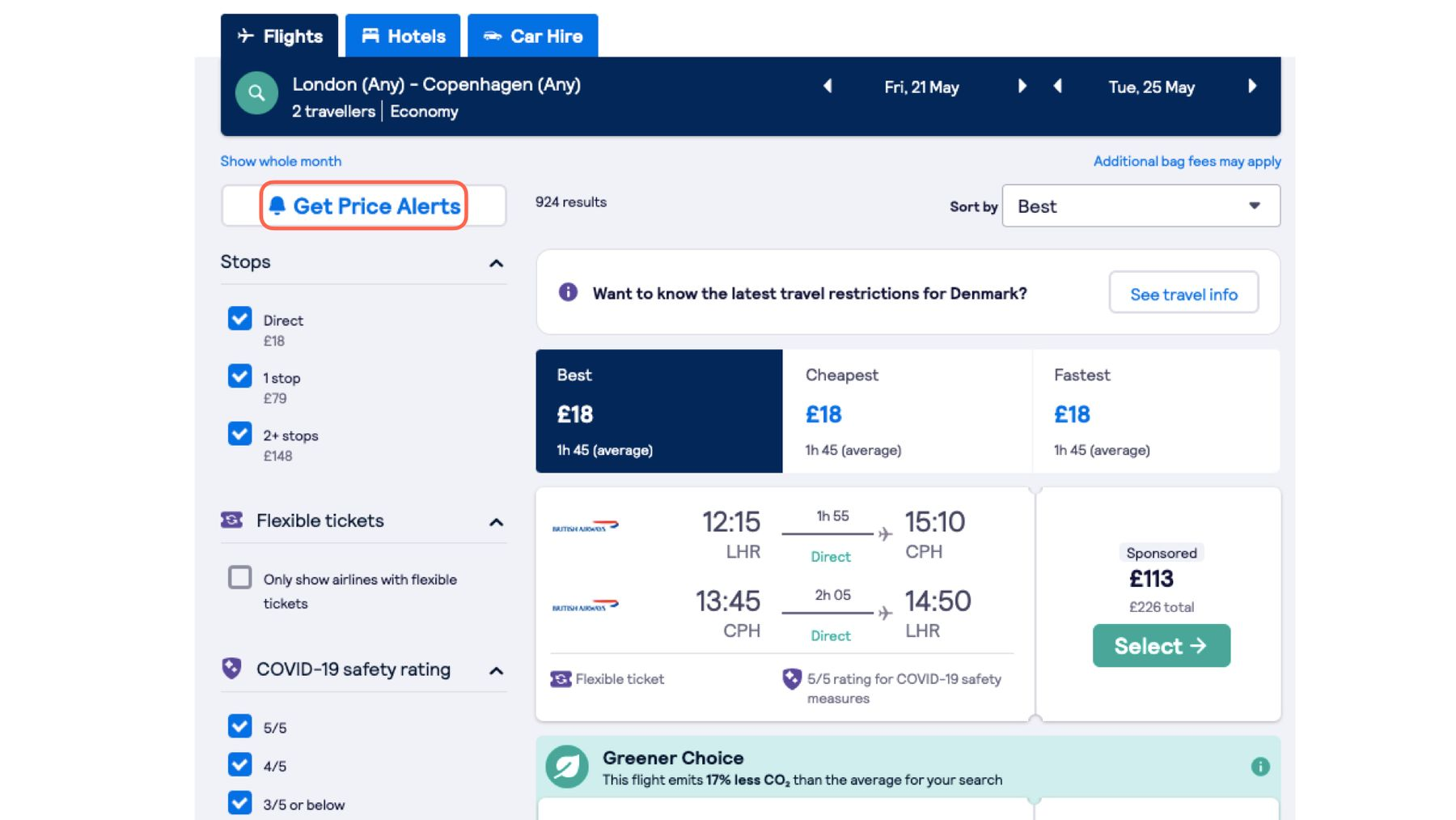 You can click on Get Price Alerts on the Skyscanner website as a helpful way to keep in touch with last-minute flights