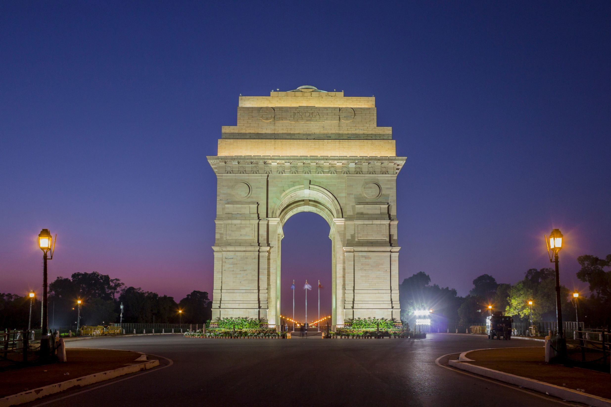 the India Gate at night in New Delhi