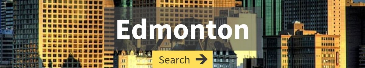 flights to Edmonton search with Edmonton cityscape in the background