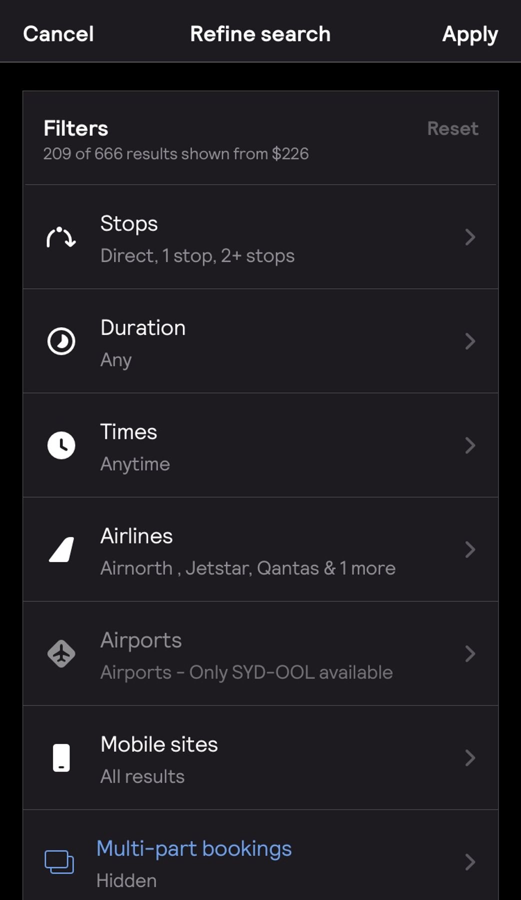 Skyscanner app screenshot of filters to help search for Black Friday flights and Cyber Monday deals