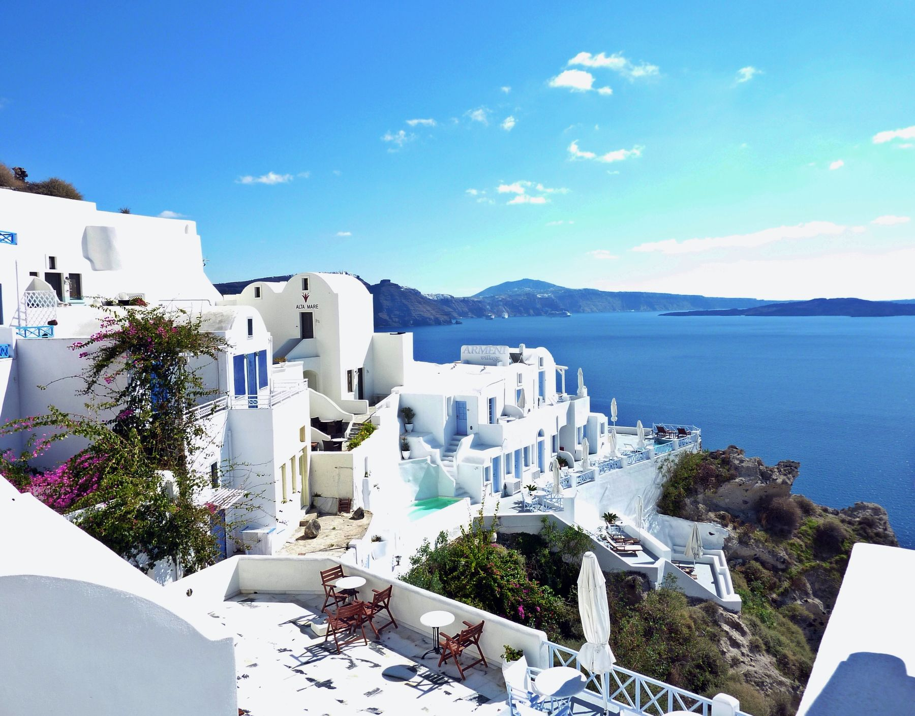 Santorini is a great option for its warm September weather