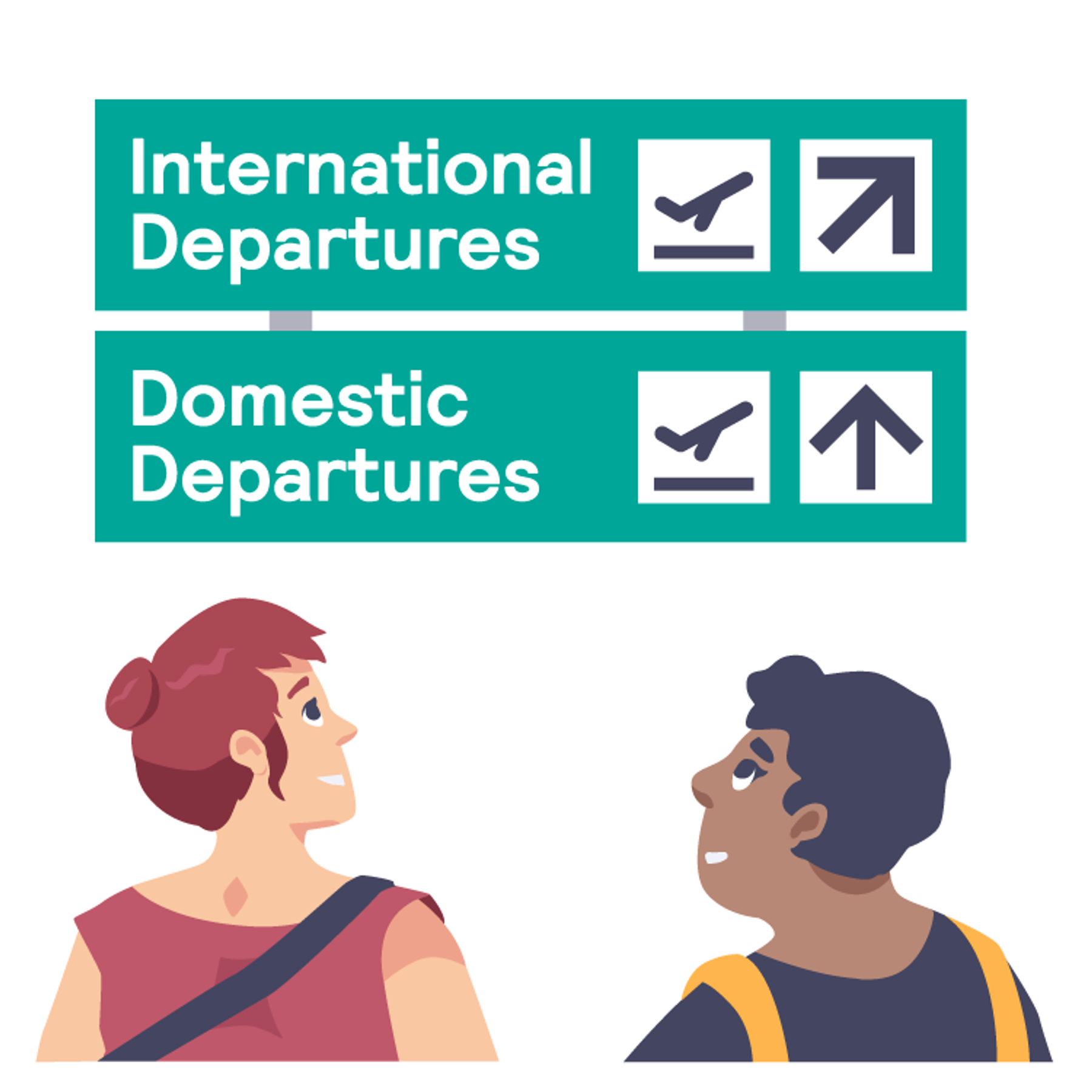 Two smiling travellers look at a sign that points to international departures in one direction and domestic departures in another direction.