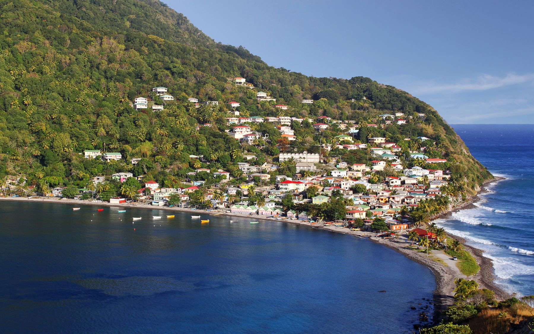 Dominica aerial view of hillside