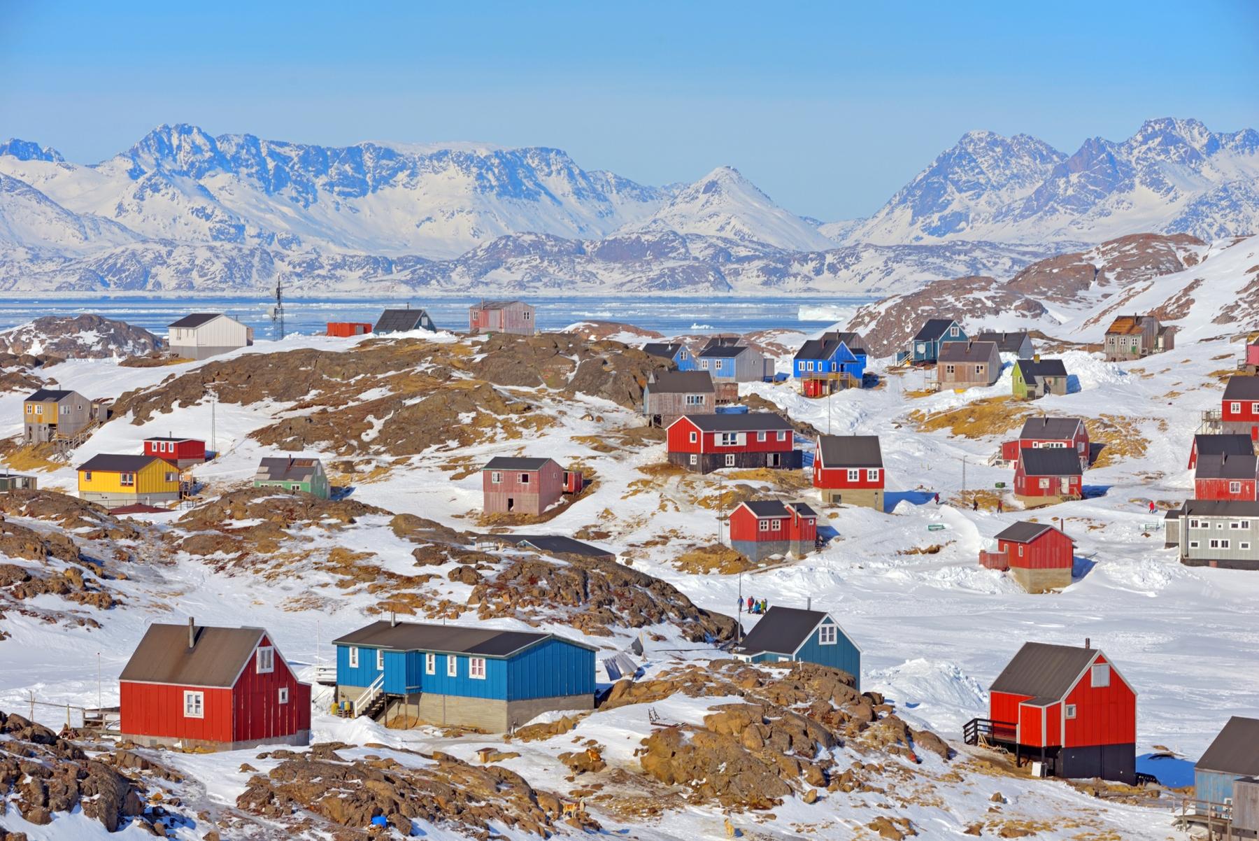 Casas de colores en Groenlandia, uno de los países más fríos del mundo