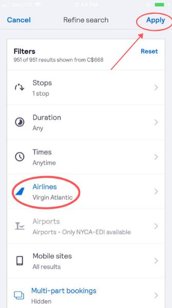 screenshot demonstrating how to filter for Virgin Atlantic flights on the app
