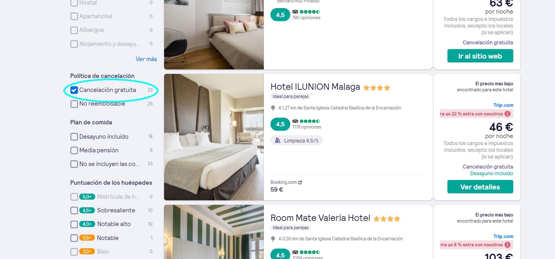Buscar hoteles con cancelación gratuita y reservas flexibles