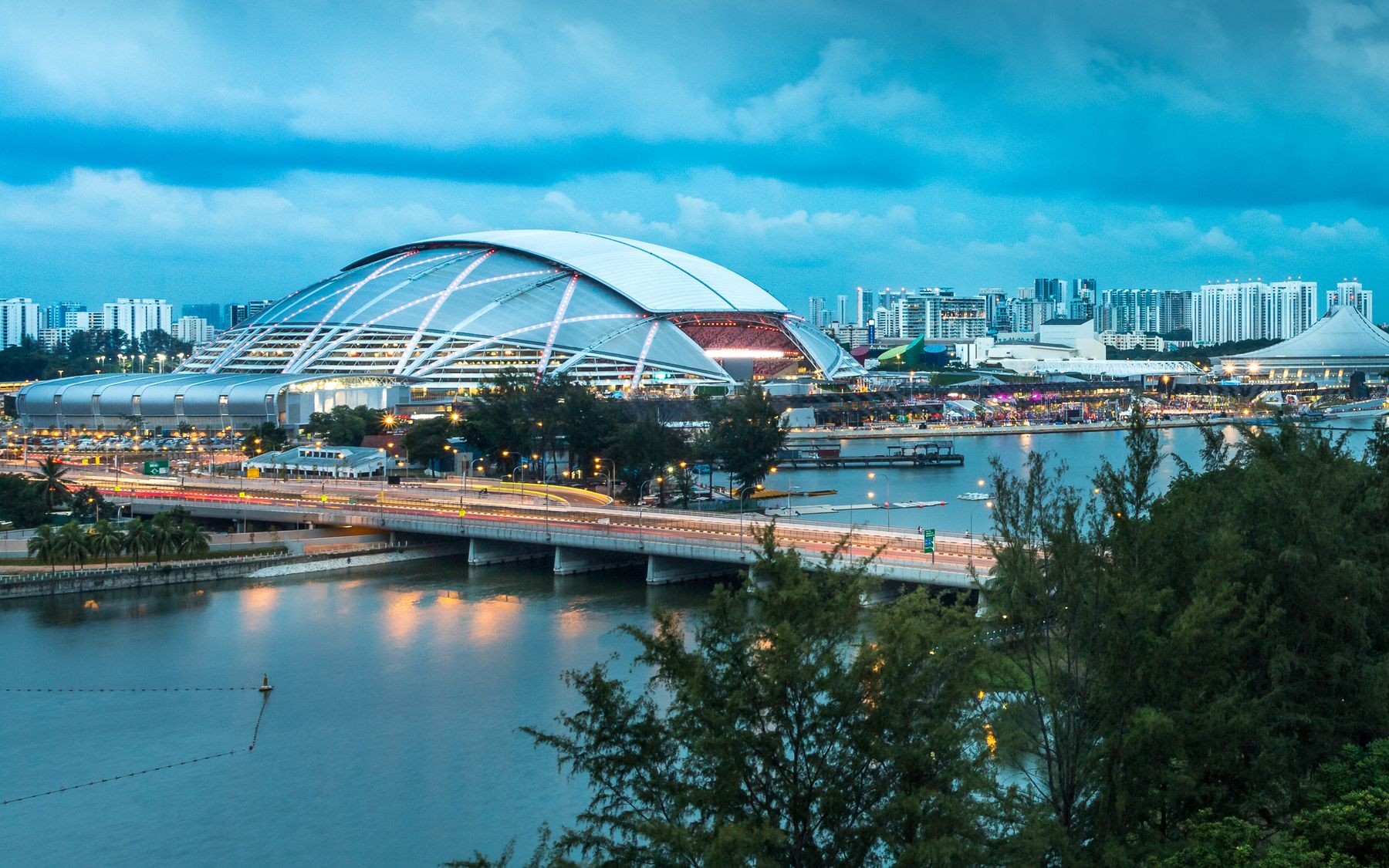 The Singapore Sports Hub at dusk