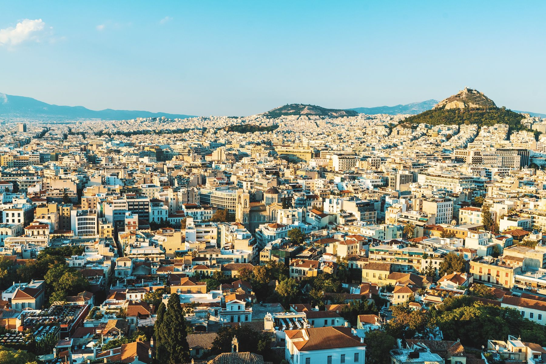 The city of Athens lookout at sunset
