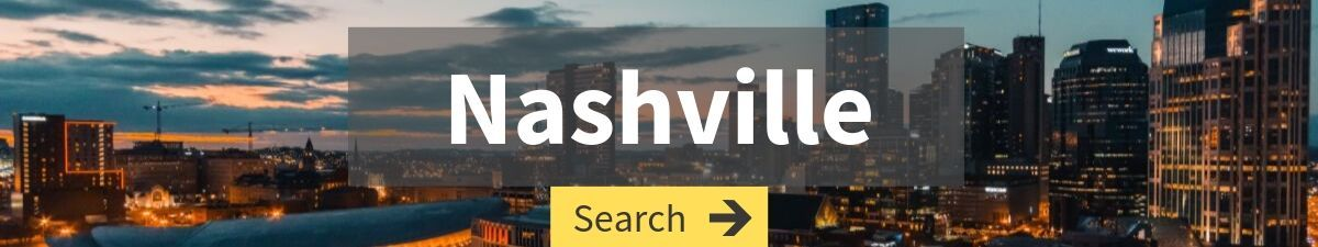 cheap flight search to Nashville with Nashville cityscape in the background