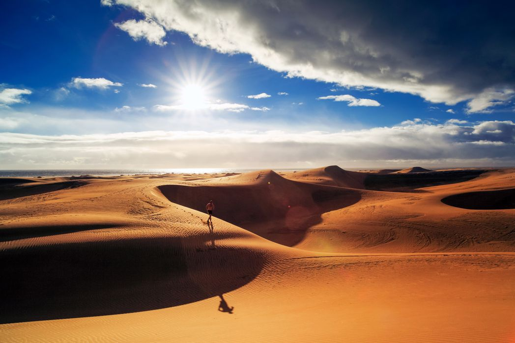 Maspalomas, Gran Canaria, boasts huge sand dunes stretching towards the sea